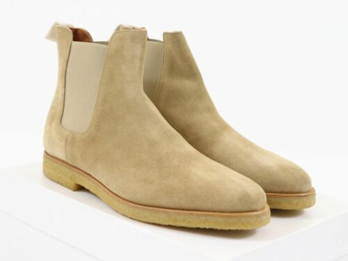 New Pure Handmade Custom Mens Beige Chelsea Suede Leather Boots in Thick Crepe