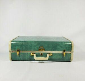 """Vintage Samsonite Streamlite 21"""" Suitcase Luggage Bermuda Green w Key"""