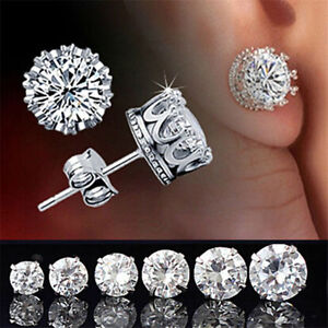 Retro-Classical-Silver-Crystal-Crown-Ear-Studs-Earrings-Jewelry-Gift-Men-Women