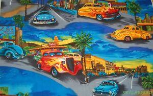FQ-Robert-Kaufman-Vintage-Hot-Rods-Tropical-Island-Cotton-Fabric-FQ-FREE-SHIP