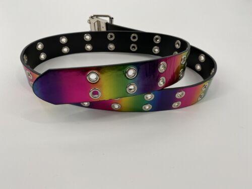 Reversible Grommet Belt- Black To Rainbow Y2K 90s