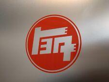 "2 pack 1930's Toyota TEQ Logo Vinyl Decal Sticker Gloss Orange 5"" 1/2 x 5"" 1/2"