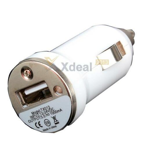 white Mini Car Charger Adaptor Bullet USB 1-Port For iPhone 4 5 C S 6 Plus