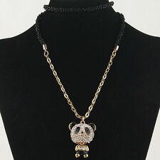 """30"""" Betsey Johnson 14k Gold Filled Panda Austrian Crystal Necklace w/tags"""