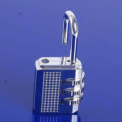 1PC Mini 3 Digit Resettable Combination Luggage Suitcase Lock Padlock Silver 17D