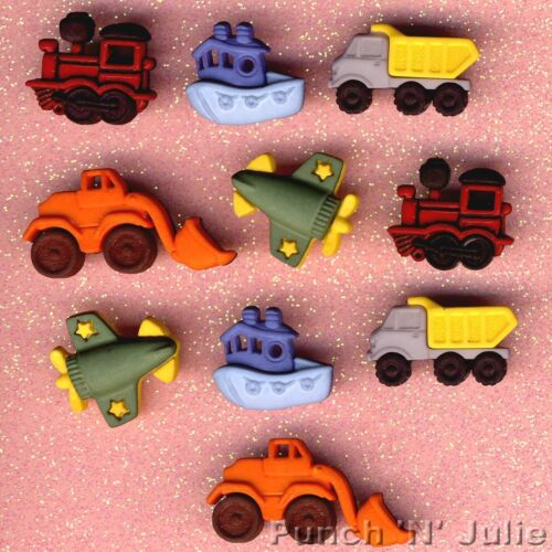 THINGS THAT GO ZOOM Plane Boat JCB Digger Train Truck Dress It Up Craft Buttons