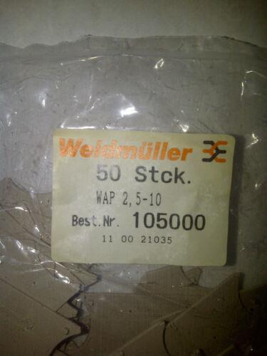 WEIDMULLER 105000 WAP 2.5 LOT of 200 END PLATE W-Series 1.5 x 56mm x 33.5mm