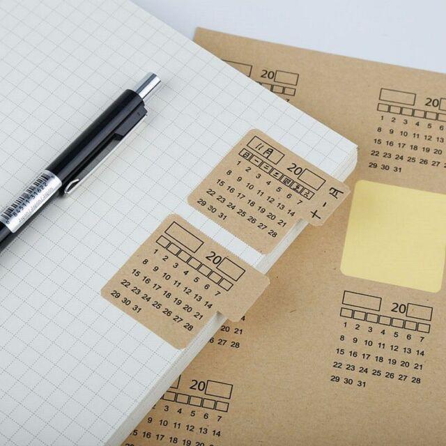 Pocket Calendar.2019 Pocket Calendar Notebook Paper Handwritten Index Label Sticker Diy Sheets