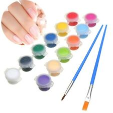 12 Color/set 3g Nail Art DIY Paint Pigment Acrylic Emulsion Graffiti Brush Pen S