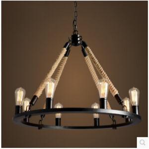 Details about Hemp Rope Chandelier Pendant Light Restoration Hardware Lamp  Ceiling Fixtures