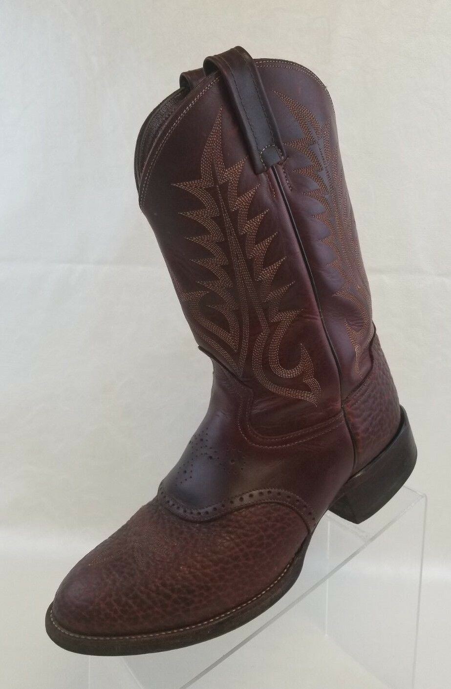 Tony Lama Western Cowboy Boots Mens Renegade Brown Bullhide Ropers Pull On Sz 9D
