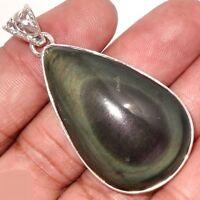 Pendentif Protection Obsidienne Oeil Celeste Monture Argent 925 R 5027