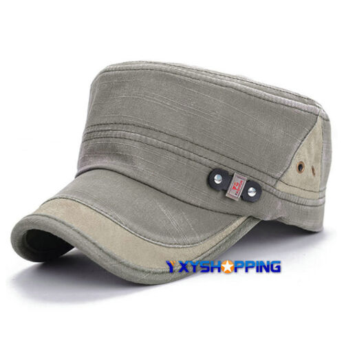Men Military Army Cadet Truckers Cap Adjustable Summer Plain Casual Sun Flat Hat