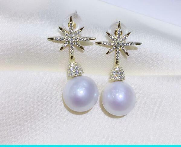 A  pair 9-10mm south sea white pearl earring