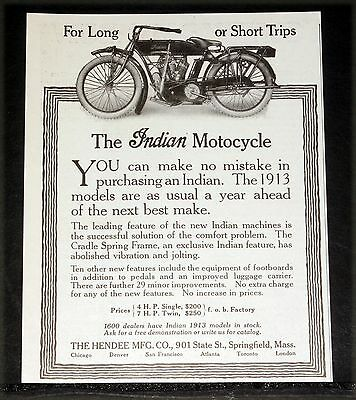 1913 OLD MAGAZINE PRINT AD, INDIAN MOTOCYCLES, FOR LONG OR SHORT TRIPS, TWINS!