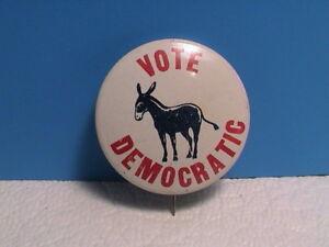 Vintage  VOTE DEMOCRATIC Pin  Democratic Party Donkey Pinback Button
