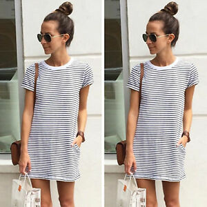 Women-Striped-T-Shirt-Dress-Short-Sleeve-Summer-Beach-Long-Top-Shirt-Sundress