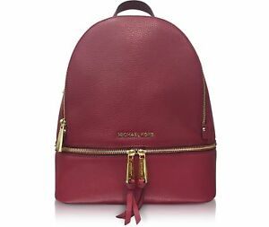 6d70c9b5a5acb1 Michael Kors Rhea Zip Medium Leather Backpack 30s5gezb1l in Mulberry ...