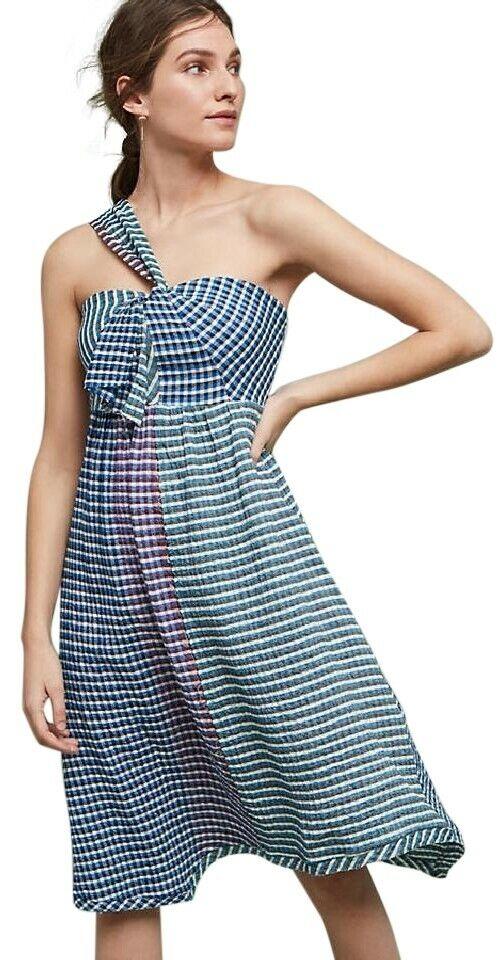 Maeve Anthro damen Waverly MultiFarbe Plaid One Shoulder Midi Dress Größe 2 NWT