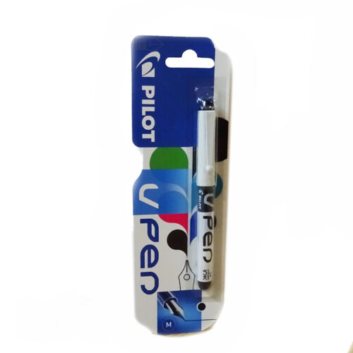 Pilot V Fountain Pen White Barrel Medium Nib Disposable Black or Blue Ink