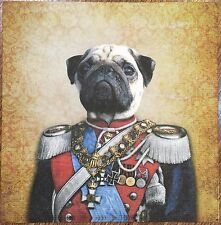2 single paper napkins decoupage scrapbooking collection Serwetki Dog in uniform