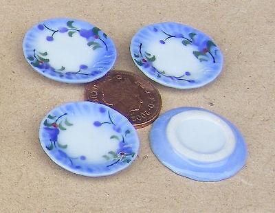 1:12 Scala 4 Blue & White Piastre In Ceramica 2.5cm Tumdee Casa Delle Bambole Accessorio B93-mostra Il Titolo Originale