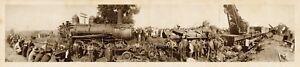 1909-Wreck-on-Illinois-Central-Railroad-near-Farmer-City-Vintage-Panoramic-Photo