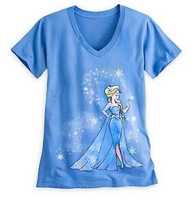 Disney-Store-Elsa-FROZEN-V-Neck-T-Shirt-Womens-Size-XS-2-Princess-Adult-Gift-NWT