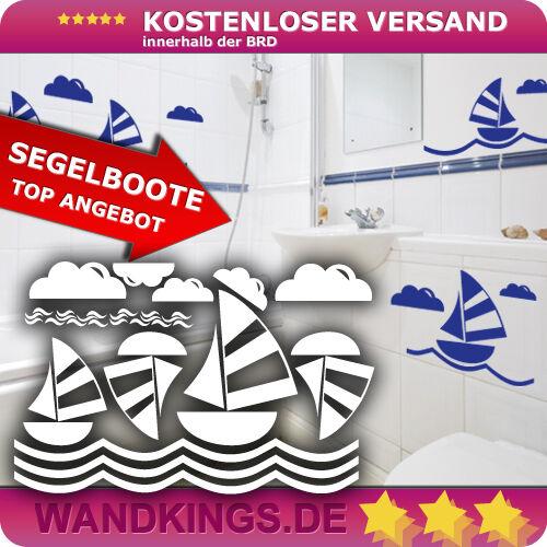Wandtattoo Segelboot SET Badezimmer Meer Wellen Wolken