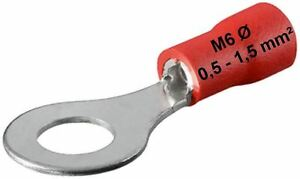 Cosses-de-cable-rouge-0-5-1-5-mm-Cosse-Anneau-M6-6mm-Sertir-Forme-D-039-anneau