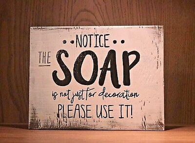 Rustic Wood Sign Use The Soap Bathroom Decor Funny