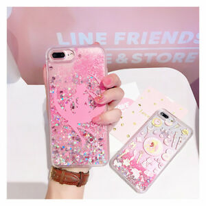 online retailer ef5ba 49ef6 Details about Girly Sailor Moon Bling Glitter Liquid Hard Phone Case For  iPhone X 6S 7 8 Plus