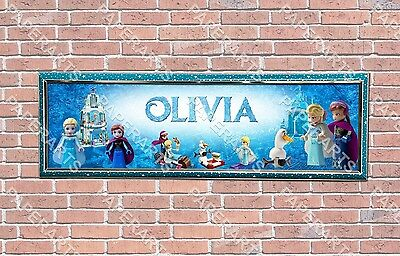 Personalized Customized Frozen #3 Name Banner Wall Decor Poster with Frame Set