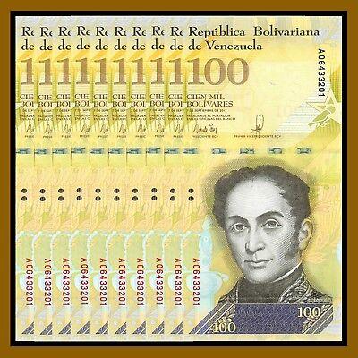 Venezuela 100000 2017 P-100 Unc 100,000 Bolivares x 25 Pcs Bundle
