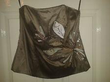 Womens Tayyaba Bustier Porcini - Coast - BNWT RRP £90 - Silk - Floral - Grey 14