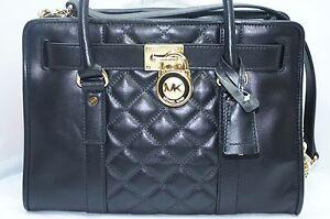 New-Michael-Kors-Hamilton-Quilt-Satchel-Bag-Handbag-Black-Tote