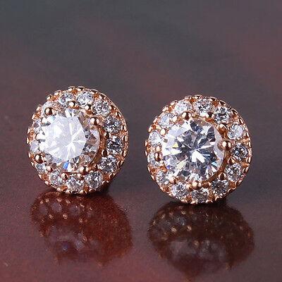 Women favorable gift 18k rose gold filled smart  white topaz stud earring