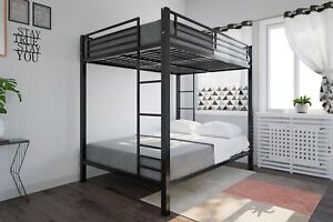 Details about Bunk Beds Full Over Full Size Kids Girls Boys Adults Bedroom  Furniture Bed Black