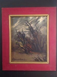 Tableau-Ancien-signe-Roger-COMTE-1913-2006-Paysage-nocturne-a-l-039-Etang-Huile