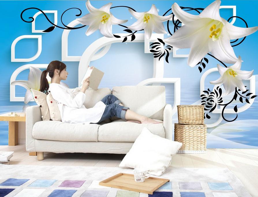 3D Lilie Hintergrund 9075 Tapete Wandgemälde Tapete Tapeten Bild Familie DE