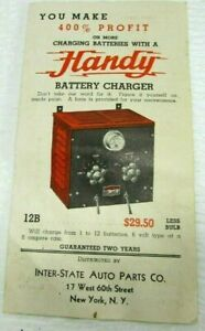HANDY Battery Charger VTG Advertising Booklet Inter-State Auto Parts Illustrated