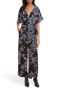 74372fe6e DIANE Von FURSTENBERG Black Floral Print Tie Front Kimono Wide Pants ...