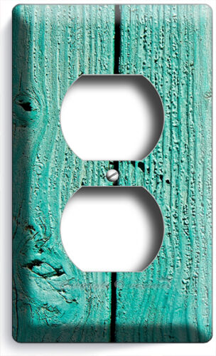 RUSTIC GREEN PAINTED CRACKED WOOD LIGHT SWITCH WALL PLATE OUTLET COUNRY CABIN