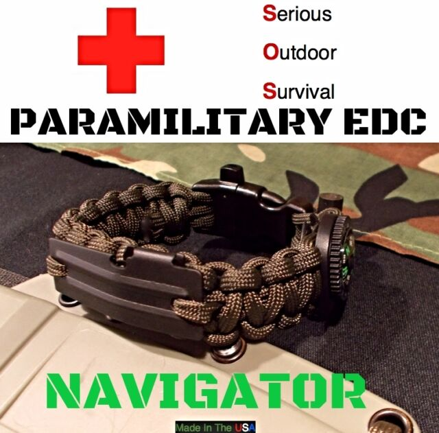 550 Paracord EDC Survival Bracelet OD GREEN / Flint Rod Twine / Compass Whistle