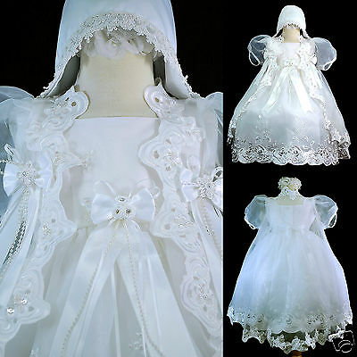 White 0-30M Infant Baby Girl Christening Baptism Church Dress Gown Size 01234