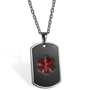 Men's Stainless Steel Medical Alert ID Dog Tag Pendant Necklace Free Engraving