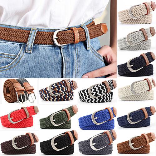 Womens Elastic Stretch Braided Belt Waist Belt Leather Canvas Woven Waistband