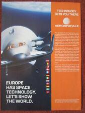3/1992 PUB AEROSPATIALE ESA CNES ESPACE ARIANE VAISSEAU SPACEPLANE HERMES AD