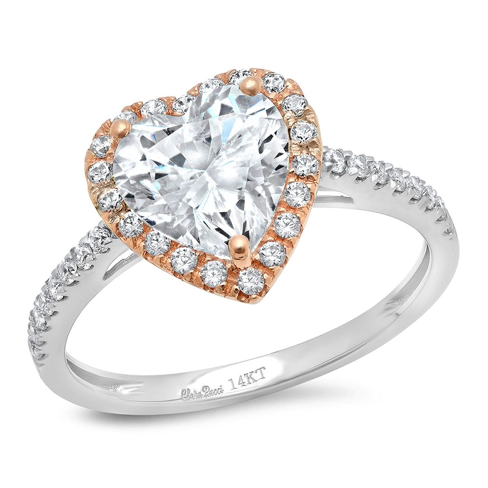 2.36ct Heart Cut Halo Promise Valentines Anniversary Ring 14k Two-Tone gold