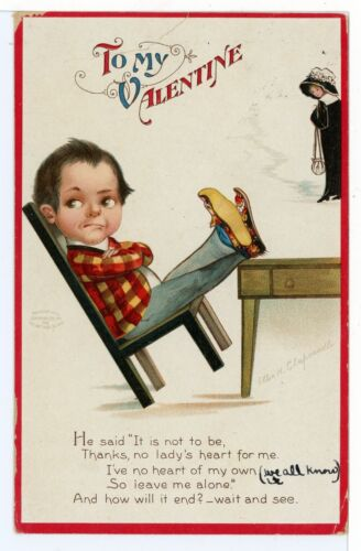 Little Boy in Plaid Jacket CLAPSADDLE ArtistSigned Valentine PC ca. 1910s